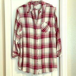 Ava & Viv 2X flannel Tunic length Long Sleeve Top